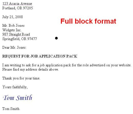full block application letter definition