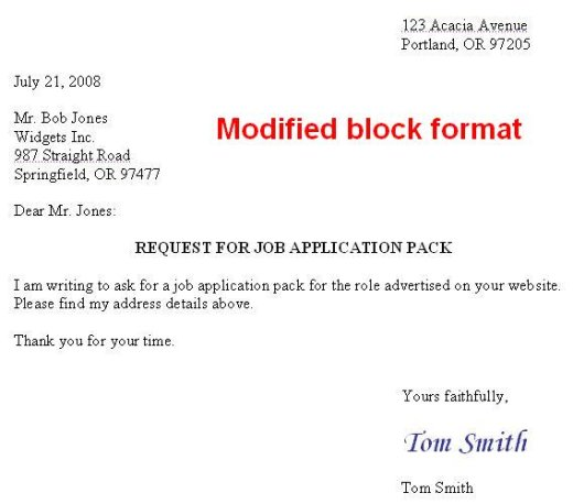 formal letter format. And a modified block format